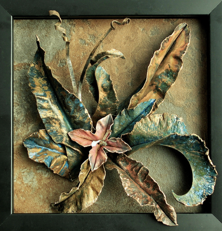 "Denys Knight, Bonners Ferry, ID, U.S., ""Still Life"" (8 x 5.5 in) (20.3 x 14 cm) Copper, turquoise, photo by Jay Ellis -- www.foldforming.org"