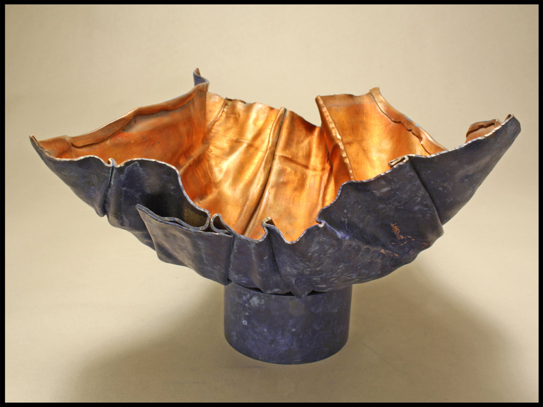 "Jurors' Choice 2017 Lewton-Brain Foldform Competition, Ruth Ackerman,  Richmond, CA, U.S. ""Blue Bowl"" (6.75 x 5.25 x 3.25 in) Copper; photo by Ed Lay -- www.foldforming.org"