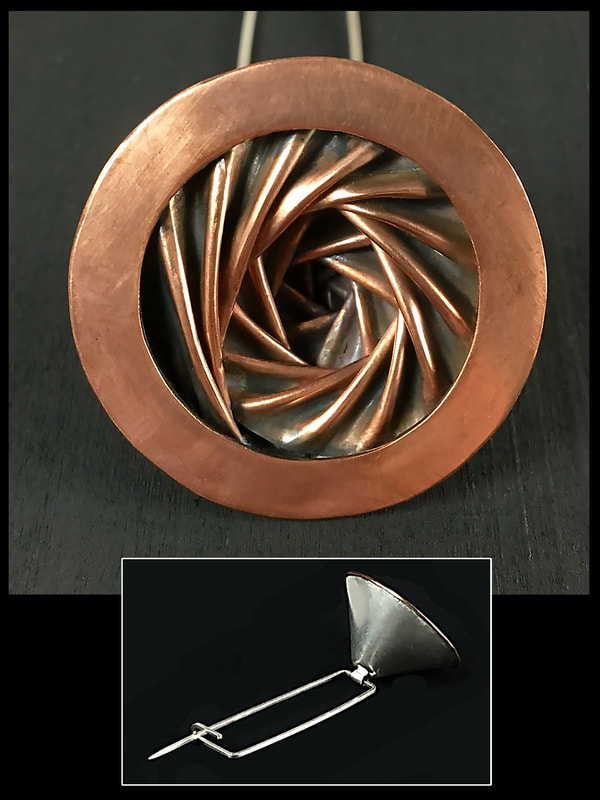 "Jurors' Choice 2017 Lewton-Brain Foldform Competition, Darcie Beeman-Black, Memphis, TN, U.S. ""Lapel Pin"" (1 x 1 x 5 in) Silver and copper -- www.foldforming.org"